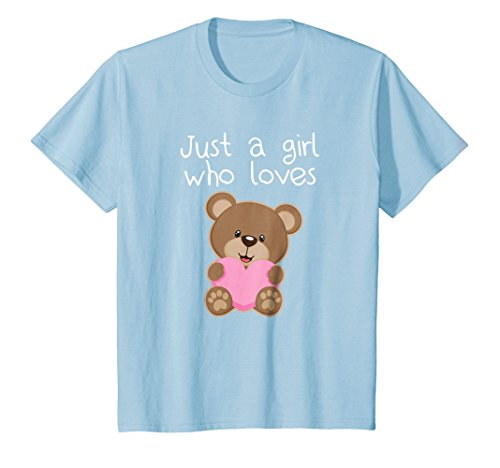 Love Teddy - Kids Just A Girl Who Loves Teddy Bears T-Shirt Cute Kid Gift Tee 10 Baby Blue