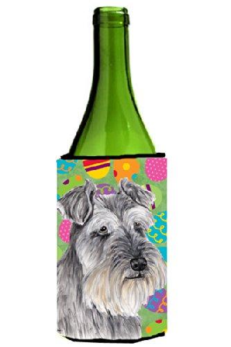 (Caroline's Treasures SC9473LITERK Schnauzer Easter Eggtravaganza Wine Bottle Koozie Hugger, 750 mL, Multicolor)