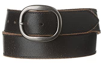 "Strait City Trading Co Men's 1-1/2"" Leather Belt with Pewter Buckle 34"" Black"