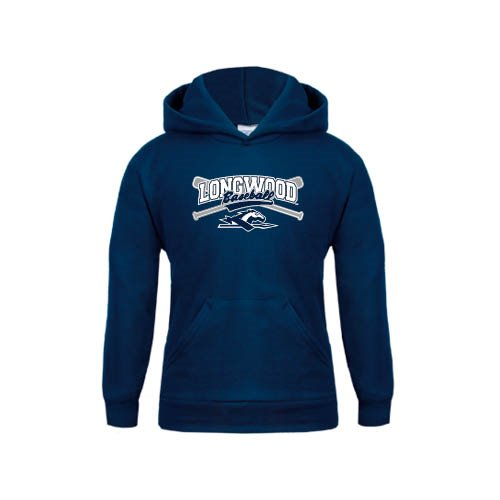 Longwood Youth Navy Fleece Hoodie Baseball Crossed Bats Design
