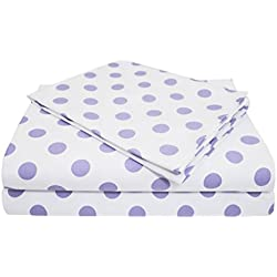 American Baby Company 100% Cotton Percale Toddler Bedding Sheet Set, White/Lavender Dot, 3 Piece