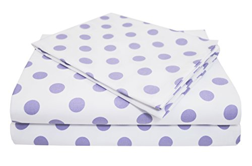 (American Baby Company 100% Natural Cotton Percale Toddler Bedding Sheet Set, White/Lavender Dot, 3 Piece, Soft Breathable, for Girls)