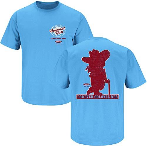 Smack Apparel Ole Miss Fans. Colonel Reb Light Blue T Shirt (Sm-5X) (Short Sleeve, Large)