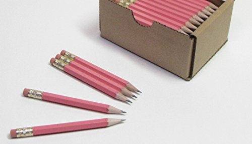 Half Pencils with Eraser - Golf, Classroom, Pew, Pocket -#2 Hexagon, Sharpened, (Box of 48). Color Choice: (Baby Shower Pencils)