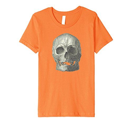 Kids Real Skull Easy Quick Costume Halloween Party Cool Shirt 10 Orange