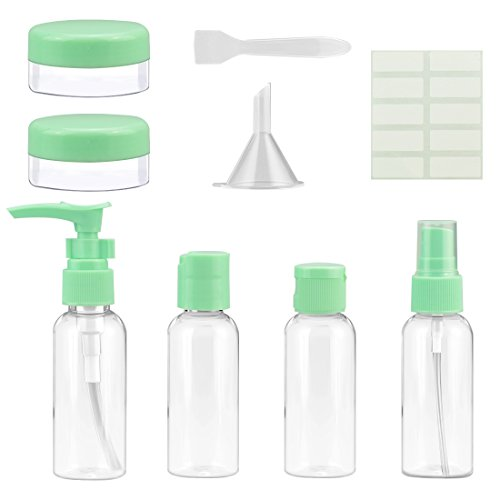 (Half Transparent Green Travel Spray Pump 1oz 2 oz 3oz Bottles set (pack of 9) for Makeup Cosmetic Toiletries Liquid Containers Leak Proof Portable Travel Accessories with Zip Pouch)