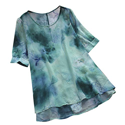 - ℱLOVESOOℱ Women Plus Size Vintage Print O-Neck Short Sleeve High Low Loose Top T-Shirt Blouse Casual Shirts Green