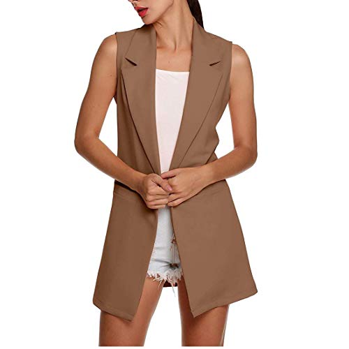 Misqimi Women's Casual Plus Size Sleeveless Solid Vest Trench Coat with Pockets Long Suit Coat Waistcoat Cardigan (Dark Khaki, ()