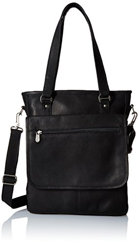 Piel Leather Laptop/Tablet Carry-All Tote, Black