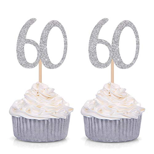 24 CT Silver Number 60 60th Birthday Cupcake Toppers Age Celebrating Party Decorations