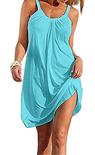 - Sierry Women Summer Beach Casual Relaxed Sleeveless Dress Mini Loose Skirt Sundress Beach Wear Blue