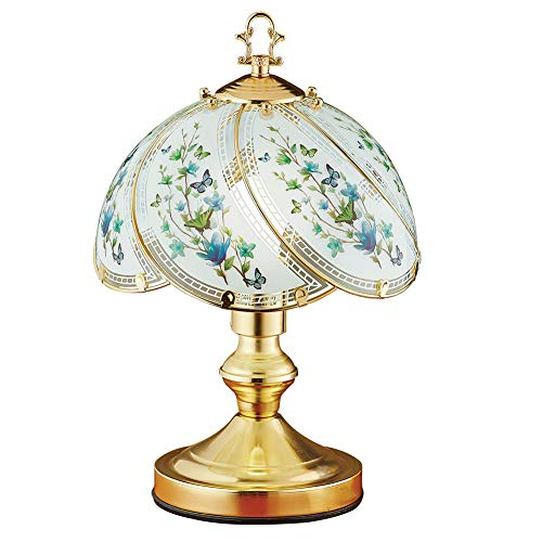 Collections Etc Watercolor Blue Butterfly Blossoms Touch Lamp - Decorative Light for Any Room in Home