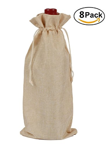 Linen Gift Bag (TBUY 8 Pack Burlap Gift Bags Linen Wine Bags With Drawstrings Wine Bottle Protector Party Wedding Favor 6
