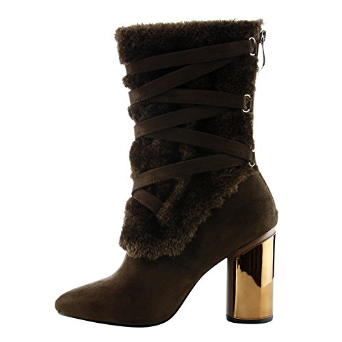 CAPE ROBBIN FE87 Womens Strappy Mid Calf Block Round Heel Boots Brown 0caxVnd0