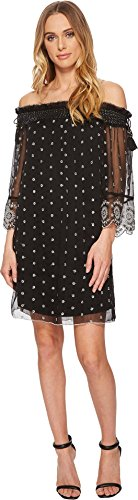 Romeo & Juliet Couture Women's Off The Shoulder Dotted Dress Black Small (Dresses Juliet Couture Romeo)