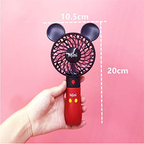 (Mifeer Cute Mickey Fan, Portable Handheld, with Rechargeable Built-in Battery 800mAH, USB Port Handy, Air Cooling Mini Fan, for Smart Home (Color : Red))