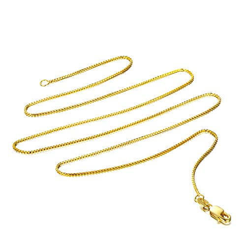 - 14k Yellow OR White Gold Solid Box Link Chain Necklace with Lobster Claw Clasp (Gold, 18.0)