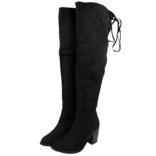 Womens Ladies Thigh High Boots Over The Knee Party Stretch Low Mid Heel Size 3-8 Black Qfcd4Q0T