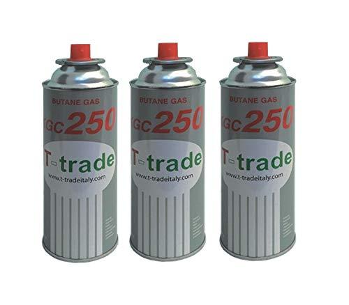ALTIGASI 3 Pezzi KCG250 Ideale Saldatore CANNELLO STUFETTA O FORNELLO Bistro Compatibile CAMPINGAZ Brunner Cartuccia BOMBOLETTA Gas GPL 250 GR Art