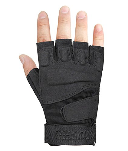 PANDA SUPERSTORE Fingerless Breathable Wear Resistant/Hunting/Climbing/Shooting Gloves Black, M