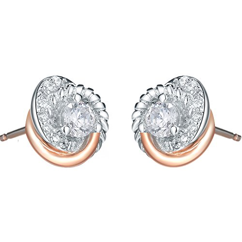 SILVERAGE Rose Gold Plated Sterling Silver Zirconia Two-Tone Love Knot Stud Earrings