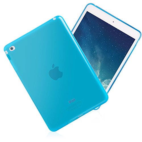 (iPad Mini 4 Case, Cavor Ultra-Thin Silicone Back Cover Clear Plain Soft TPU Gel Rubber Skin Case Waterproof Protector Shell for Apple Mini 4 (Blue))