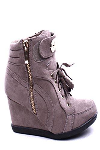 Forever Link Metal Design Encaje Up Cremallera Cierre Cuña Botines Sneaker Zapatos Taupe