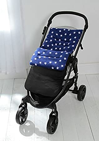 Fleece Footmuff Cosy Toes Compatible With Uppababy Vista Cruz G Luxe Pushchair Blue Star Black Outer