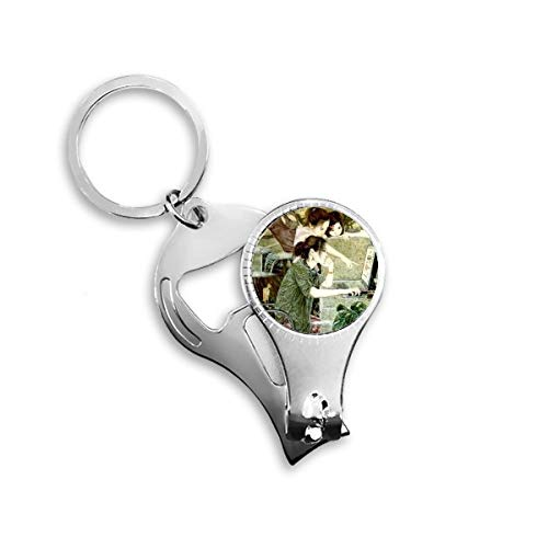 Green Clothes Wearing Glass Girl Working With Computer Discussing With Others Chinese Meticulous Painting Metal Key Chain Ring Multi-function Nail Clippers Bottle Opener Car Keychain Best Charm Gift