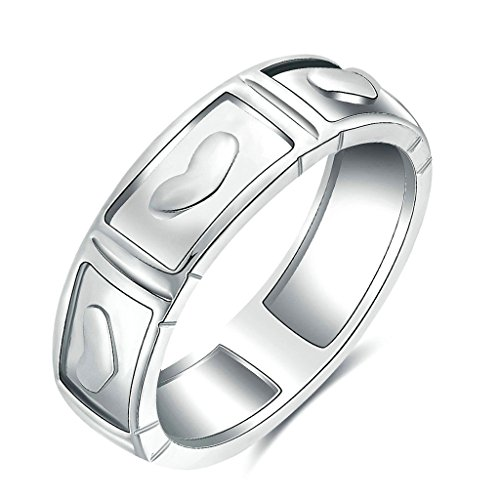 Female Ringmaster Costume Pattern (Epinki Womens Valentine Ring Carved Love Heart Pattern Sweet Love Silver Size 6 Ring)