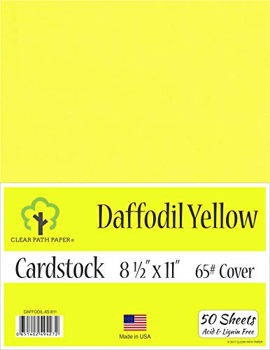 - Daffodil Yellow Cardstock - 8.5 x 11 inch - 65Lb Cover - 50 Sheets