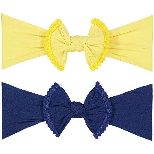 POMPOM BOW FAVORITE BABY HEADBANDS - 2 Pack - Newborn Headbands and Baby Girls Headbands - Parker Kids Bows