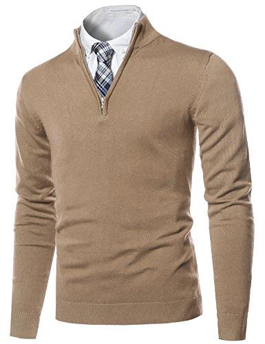 Youstar Classic Half Zip up Mock Neck Basic Sweater Top Beige Size ()