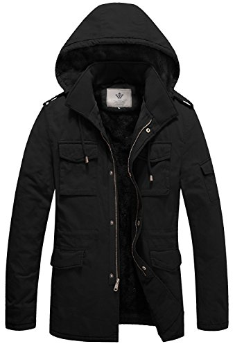 WenVen Men's Duck Sherpa Lined Hooded Jacket(B-Black,L)