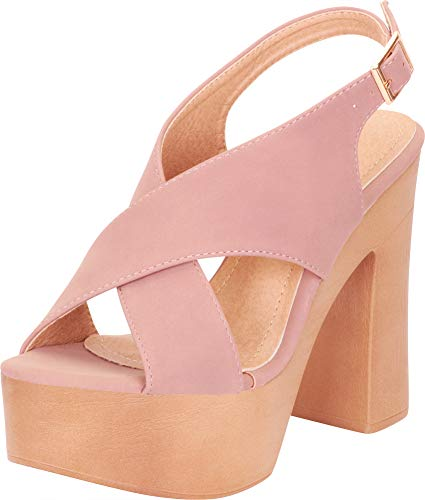 - Cambridge Select Women's Retro 70s Open Toe Crisscross Chunky Platform High Block Heel Sandal,8.5 B(M) US,Nude NBPU