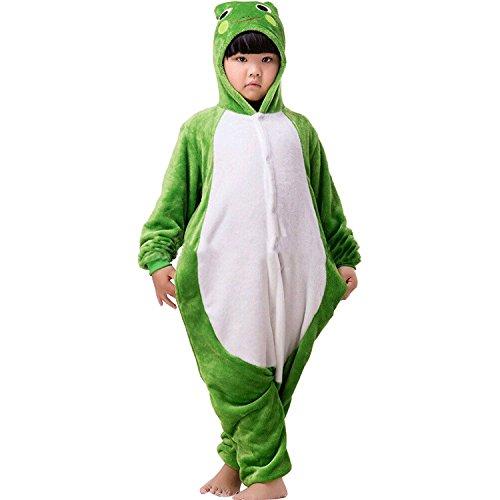 ABING Halloween Pajamas Homewear OnePiece Onesie Cosplay Costumes Kigurumi Animal Outfit Loungewear,Frog Chidren Size 95 -for Height:103-115cm
