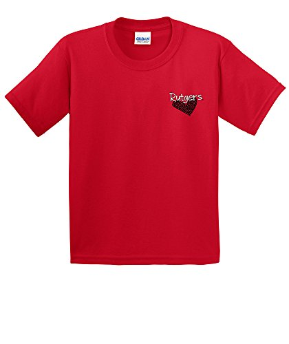 NCAA Rutgers Scarlet Knights Youth Patterned Heart Short Sleeve Cotton T-Shirt, Large,Red