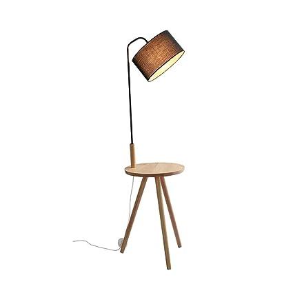 Lámpara de pie Trípode paño Pantalla Lámpara de Madera ...