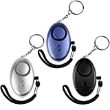 IEKA Personal Alarm, 3Pack 130DB Emergency Safe Sound Key Chain Siren, Self-Defense Safety Alarm With Mini LED Flashlight Best For Kids,Women And Night Workers(Blue&Silver&Black) …