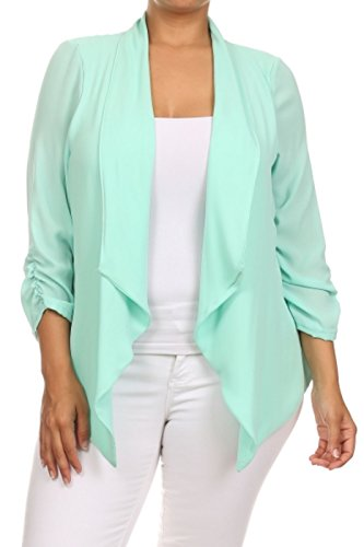 2LUV Plus Women's Open Front Gathered Sleeve Plus Size Blazer – X-Large, Aqua