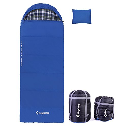 KingCamp All Season 5F/-15C Poly-cotton Sleeping Bag Cotton Flannel Lining with Pillow (Queen, Adult, Youth Size) Review