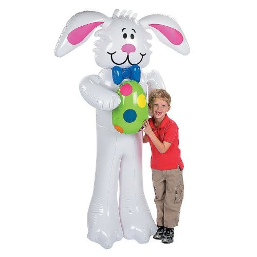 Large Huge Vinyl Inflatable Blow Up Jumbo White Easter Bunny Decoration Holding Colorful Polka Dot Egg Blue Bow Tie Bugs Air Party Hunt Prop Conversation Piece Decorative Holiday Rabbit Whimsical Fun Decor Easter Eggs Tie