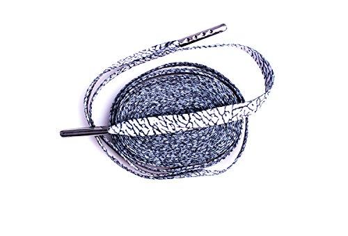 LitLaces - Flat Sublimated Cement & Elephant Print Shoelaces for Air Jordan 3 & Air Jordan 4 Replacement (Grey/Gunmetal,45