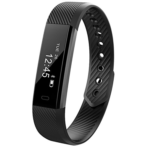 REDGO Wireless Activity and Sleep Monitor Pedometer Smart Fitness Tracker Wristband Watch Bracelet for Men Women Boys Girls Ladies Man iPhone 6 Plus 5S 5C 5 4S, Galaxy S6 S5 S4 S3, Note 6 5 4 Black by REDGO
