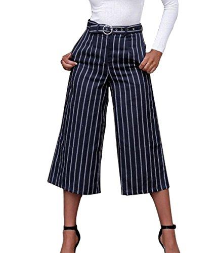 a Pants Pantaloni Palazzo Donna Vita Alta Moda Spiaggia Blu Baggy Pantalone a Estivo da Larga Gamba Righe q7XzHnf
