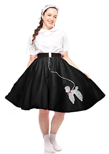 Poodle Teen Skirt Costumes (Poodle Skirt - Teen to Adult Small Size - Black)