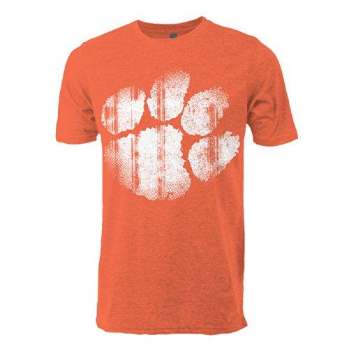 NCAA Clemson Tigers Vintage Sheer Short Sleeve Tee, Large, Heather Orange Sheer Tiger