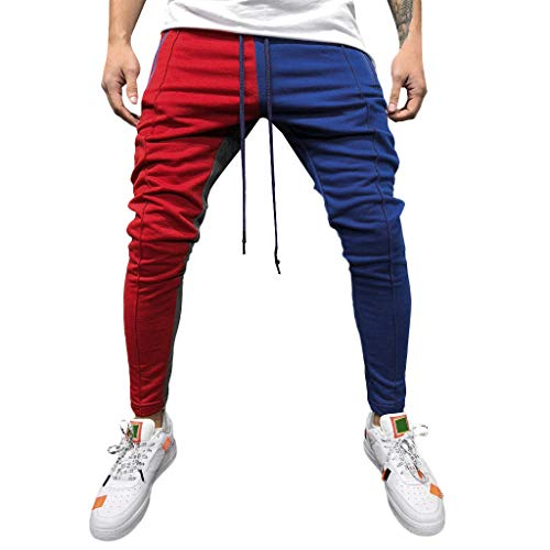 (Stoota 2019 Men's Casual Solid Loose Patchwork Color Sweatpant Trousers Jogger Pant Red)