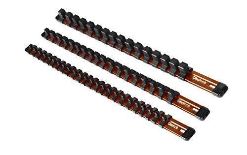 Olsa Tools 3 Pcs Kit Aluminum Socket Organizer 1/4-Inch Drive x 24 Clips, 3/8-Inch Drive x 18 Clips, 1/2-Inch Drive x 16 Clips | Premium Quality Tool Holder (Orange)