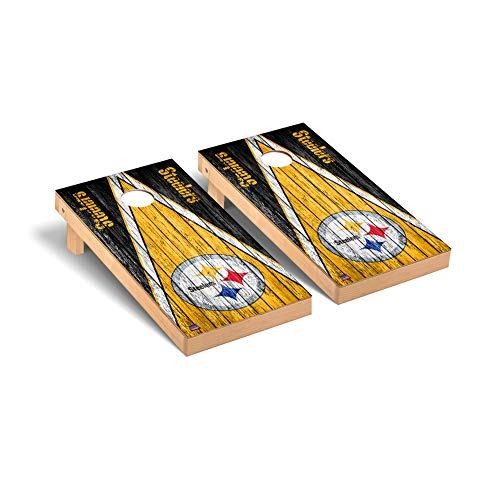 Victory Tailgate Regulation NFL Triangle Weathered Series Cornhole Board Set - 2 Boards, 8 Bags - Pittsburgh Steelers